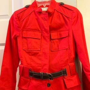 Zara Basic cerise red military style spring jacket